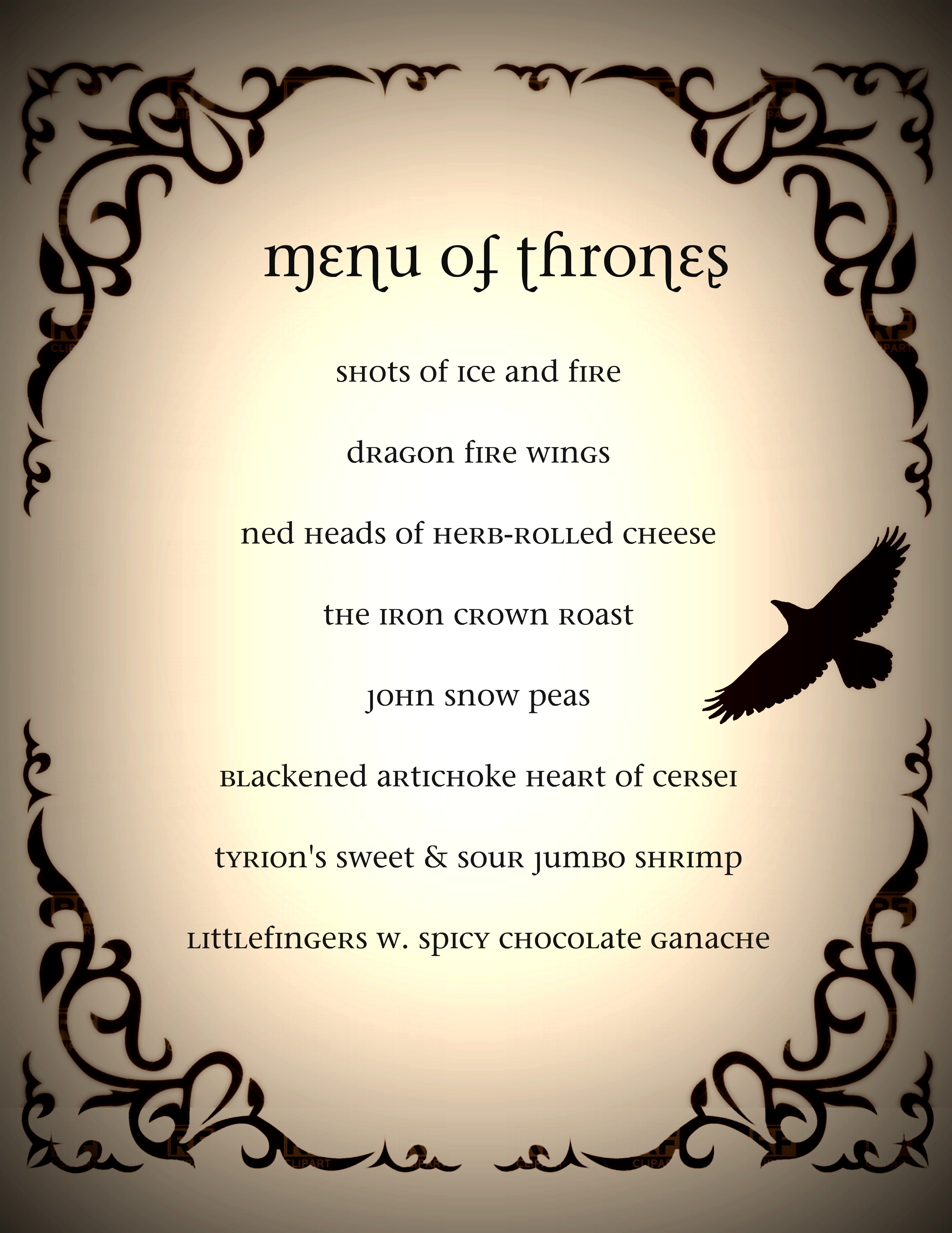 Game of Thrones Dinner Party | Welcome to Pastiche Events and PAPERandPASTICHE.etsy.com