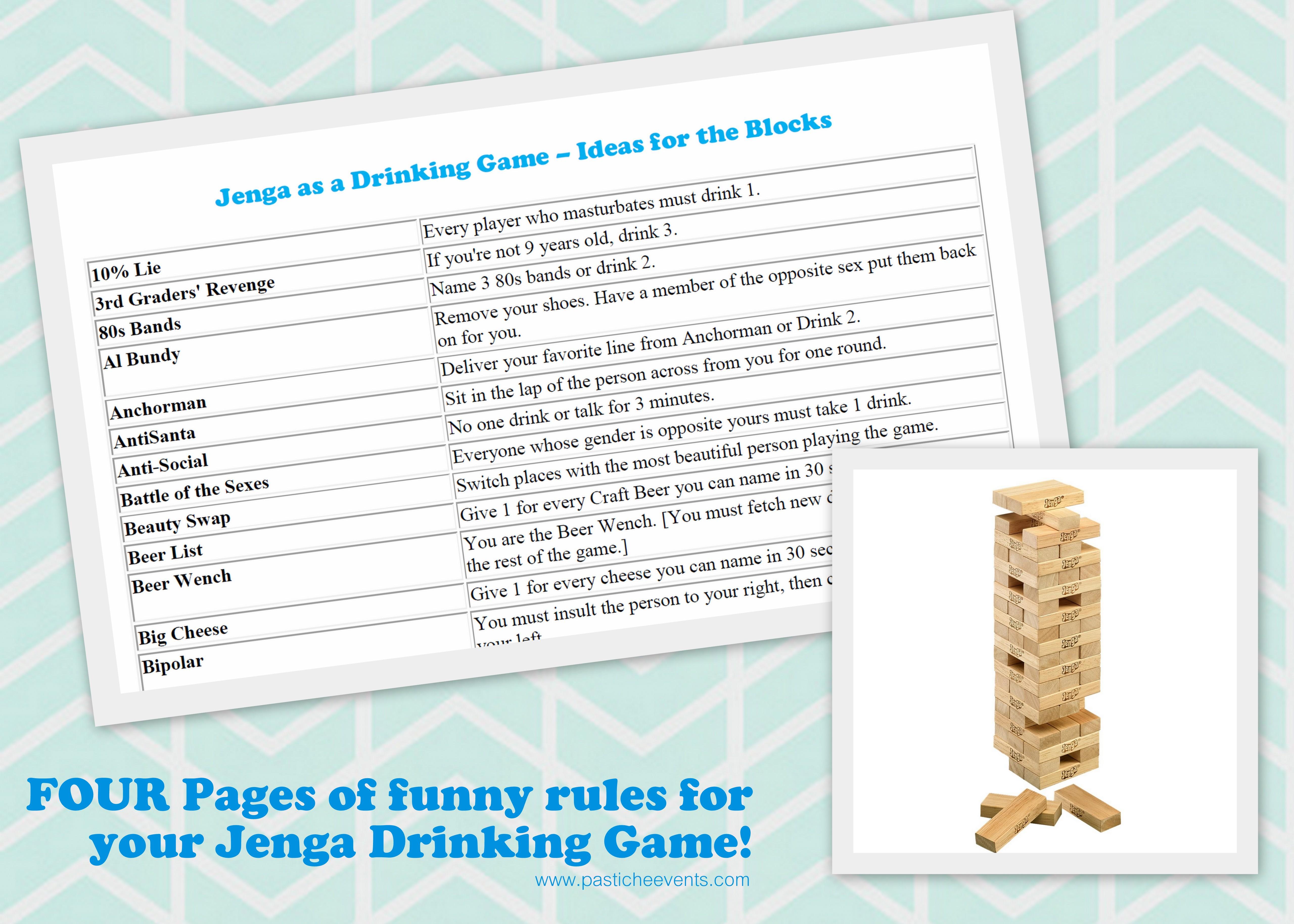 Jenga Blocks Drinking Game Jenga Drinking Game  DIY