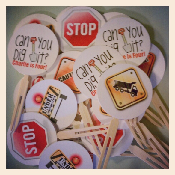 Can you dig it? Construction Party Cupcake Toppers by Pastiche Events