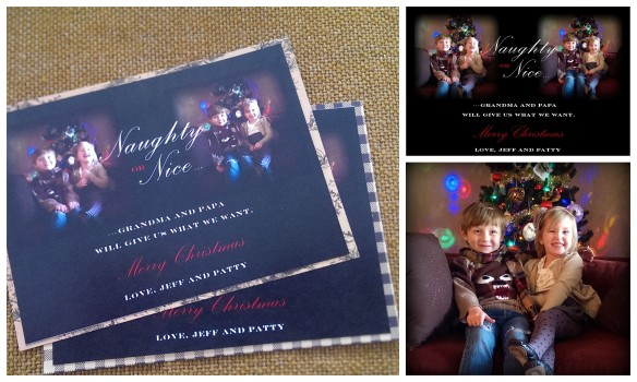 I also designed my parents' Christmas cards this year. My sister and I took pictures of our kids at my house, in front of the tree and made the cards the next day.