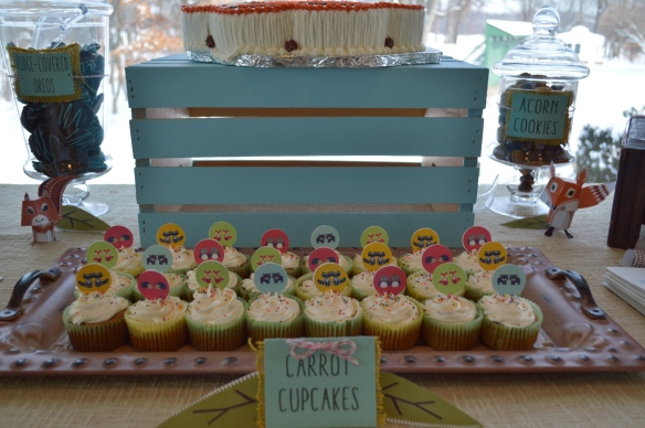 Carrot Cupcakes | Forest Friends Sweet Table for Twin Boys by Pastiche Events, Chicago.