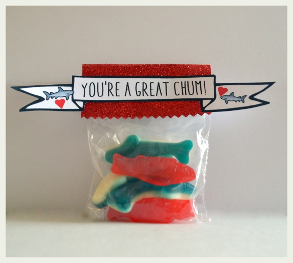 Shark Valentines Free Bag Topper Printable You're a Chum Candy Bag