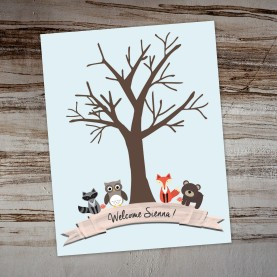 Forest Friends Thumb Print Tree PAPERandPASTICHE.etsy.com Pale Pink