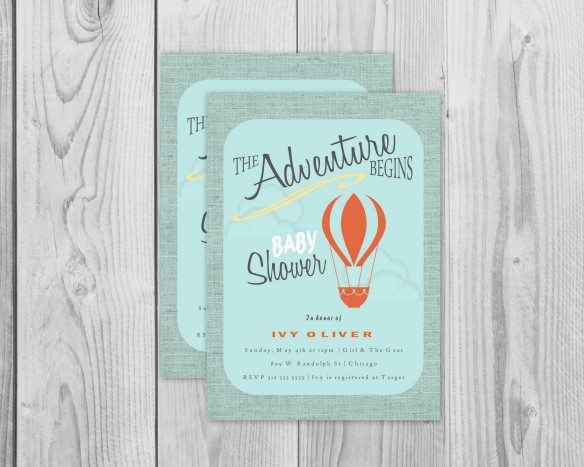 Etsy Paper and Pastiche - The Adventure Begins Invitations