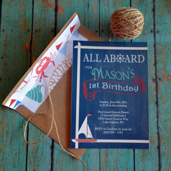 The Tide is High Celebration Invitations by PAPERandPASTICHE on Etsy, $1.80 ea. { Sail Boat Vintage Inspired Nautical Sailing Anchors Way All Aboard Patriotic Americana }