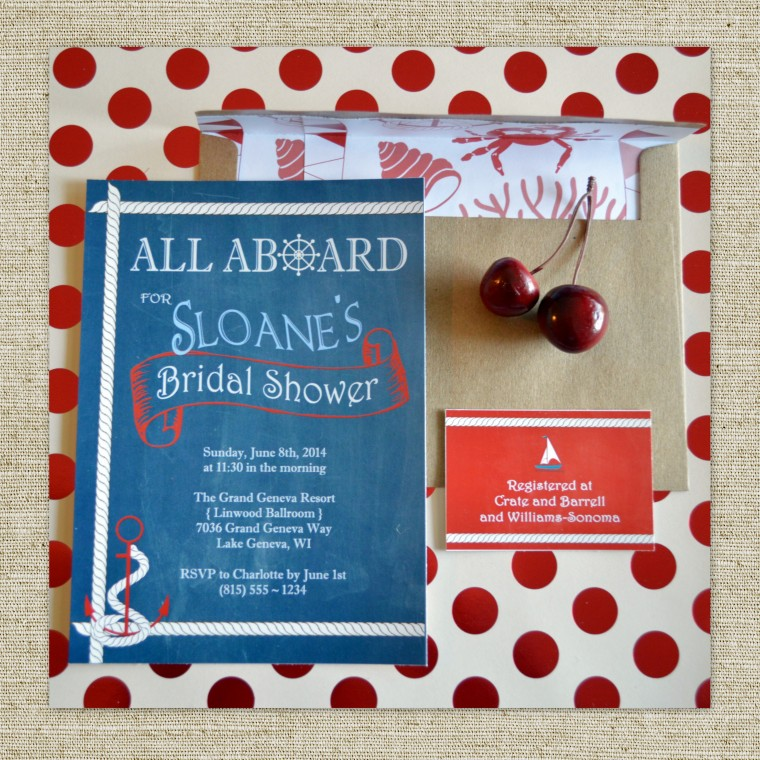 The Tide is High Celebration Invitations by PAPERandPASTICHE on Etsy, $2.00 ea. { Anchor Sail Boat Vintage Inspired Nautical Sailing Anchors Way All Aboard Patriotic Americana }