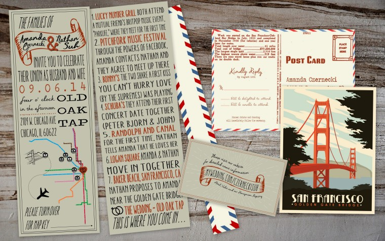 Chicago L Map Wedding Invitations with Love Story and Vintage Postcard Response by PAPERandPASTICHE