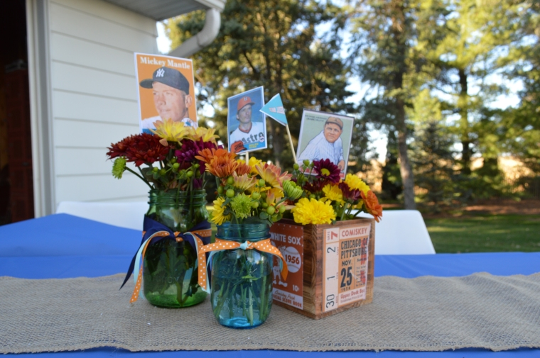 Vintage Fall Baseball Baby Shower by Pastiche Events | Floral Centerpieces