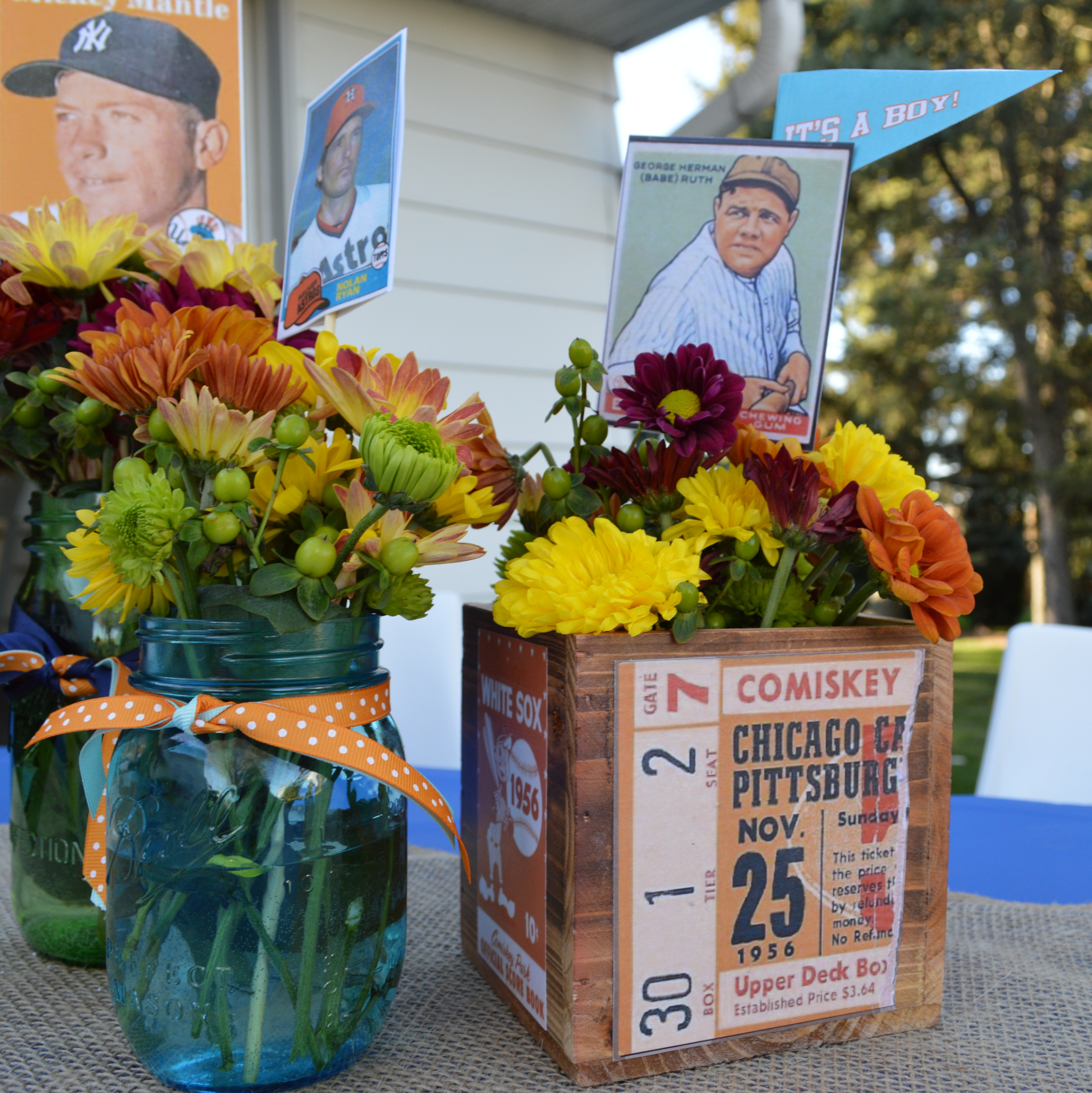 vintage fall baseball baby shower by pastiche events floral