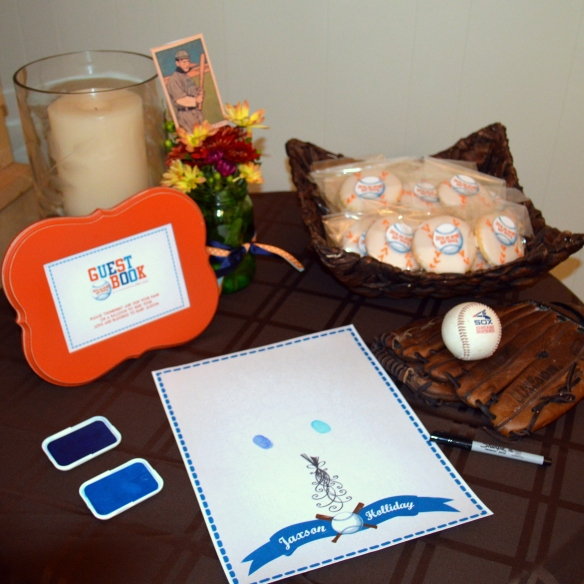 Vintage Fall Baseball Baby Shower by Pastiche Events | Thumbprint Balloons and Sugar Cookie Favors