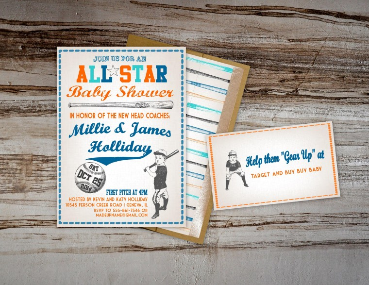 Vintage Fall Baseball Baby Shower by Pastiche Events | Basbeball Invitations