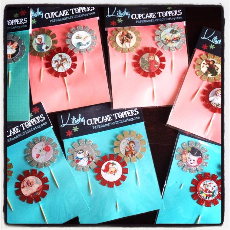 Kitschy Cupcake Toppers by PAPERandPASTICHE